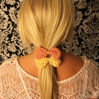 Set of 2 Crochet Bow Hair Tie Elastics in CORAL by raysofcrochet