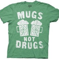Mugs Not Drugs St Patty's Heathered Green Men's Tee