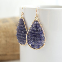 Water Sapphire Dangle Earrings, Gemstone Earrings, Wire Wrapped Earrings