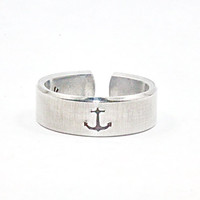 I refuse To Sink Ring, Anchor Inspirational Ring, Message And Statement Cuff Ring, Personalized Motivational Gift Ring V3