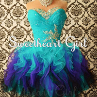 Sweetheart Mini Rhinestone Organza prom dress/homecoming dress from suckitup
