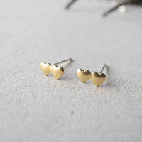 Double Hearts Earring Studs - Golden Brass Heart Jewelry - Sterling Silver Posts (E209)