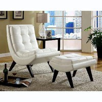 Albury White Bi-Cast Faux Leather Chair with Ottoman