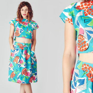 80s Turquoise Two Piece Outfit / Tropical From Mammaschest On