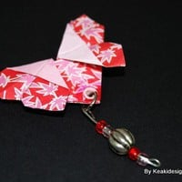 Pink Floral Origami Butterfly Brooch | KeakiDesigns - Jewelry on ArtFire