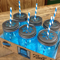 Set of 6 Vintage-Style Blue Mason Jar Tumblers with Daisy Lids