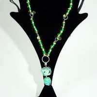 Hanging By The Lantern necklace - Green/ Blue | KeakiDesigns - Jewelry on ArtFire