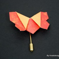 Origami Orange and Yellow Brooch | KeakiDesigns - Jewelry on ArtFire