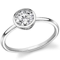 Tiffany Inspired Round Moissanite Bezette Solitaire Ring [sol300a] - &amp;#36;0.00 : MoissaniteCo.com, Fine Moissanite Rings and Moissanite Jewelry