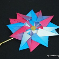 Blue and Pink Origami Pinwheel Brooch | KeakiDesigns - Jewelry on ArtFire