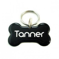 Black Dog Bone Shape Pet ID Tag - Happy Tags