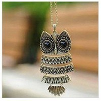 Amazon.com: Acczilla Lovely Bronze Textured Owl Pendant With 25&quot; Chain: Jewelry