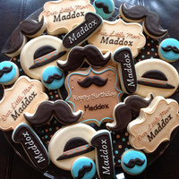 1 Dozen Mustache little Man Birthday Cookies by NatSweetsCookies