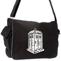 Tardis Messenger Bag Dr Who Inspired Large Black Laptop Policebox Bag