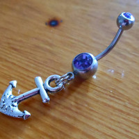 Belly Button Ring  Anchor with Light Purple Gem by ChelseaJewels