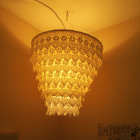 Venise Lace Faux Chandelier Pendant Lamp Shade 'White'