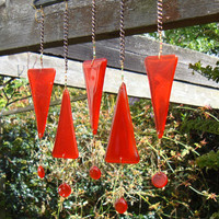 Windchimes Sun Catcher Wind chimes Orange Red by GeckoGlassDesign