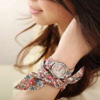 Chiffon Band Flora Print Watch B
