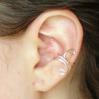 Small Ear Cuff with Silver Loops by stuffbyemily on Etsy