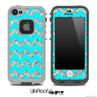 Tiffany Blue and Colorful Dotted V2 Chevron Pattern Skin for the iPhone 5 or 4/4s LifeProof Case