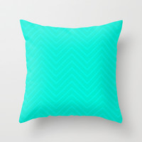 Mint Chevron Throw Pillow by Good Sense
