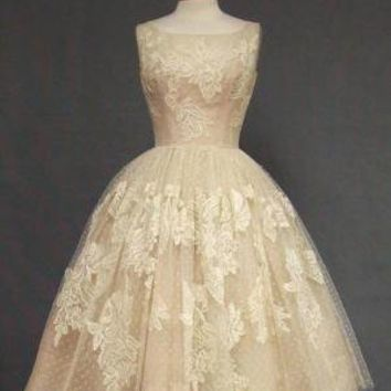 Ivory Lace & Pink Organdy 1950's Cocktail Dress VINTAGEOUS VINTAGE CLOTHING
