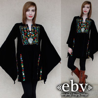 Vintage 70s Black Velvet Bell Sleeve Mini Dress S M L