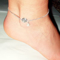 Sterling Silver antique anklets round spacer pearl summer delicate casual anklet