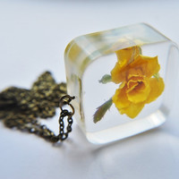 Yellow Rose Resin Cube Necklace Bold Statement Eco Jewelry Real Flower Unique Fashion Square