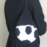 Soccer Ball Bag Crochet Black and White Handbag Tote