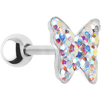 16 Gauge Aurora Crystal Ferido Butterfly Cartilage Tragus Earring | Body Candy Body Jewelry