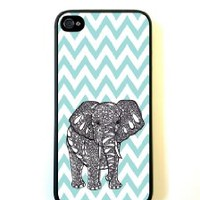 Tiffany Blue Chevron Elephant iPhone 5 Case - For iPhone 5/5G - Designer TPU Case Verizon AT&T Sprint