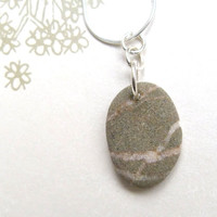 Beach Pebble Necklace Stone Pendant Sterling Silver