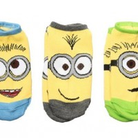 Despicable Me 2 Minions Full Face Youth No Show Socks - 3 Pack:Amazon:Clothing