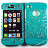 HYBRID Impact Silicone Rubber+Cover Case for APPLE iPhone 4 4S BG/Clear Glitter