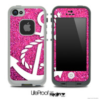 Pink Sparkle White Anchor Skin for the iPhone 5 or 4/4s LifeProof Case