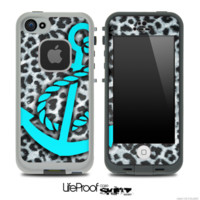 Real Leopard Turquoise Anchor Skin for the iPhone 5 or 4/4s LifeProof Case - iPhone