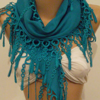 Ocean Blue Elegance Shawl / Scarf with Lace Edge by womann
