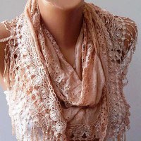 Salmon Lace and Elegance Shawl / Scarf with Lace by SwedishShop