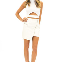MOSS VEGAN LEATHER ASYMMETRICAL SKIRT - White