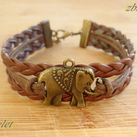elephant bracelet,retro bronze lovely elephant pendant bracelet,brown true leather bracelet---B291