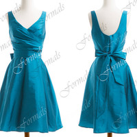 Straps V Neck Taffeta Mint Short Blue Bridesmaid Dresses, Cocktail Dresses,  Wedding Party Dresses, Formal Gown