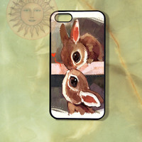 Love Bunny Rabbits iPhone 5, iphone 4s, iphone 4, Samsung GS3, GS4 case,  Ipod touch5-Silicone Rubber or Hard Plastic Case, Phone cover