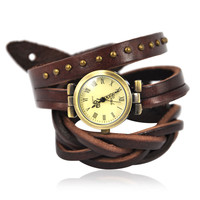 Brown Leather Wrap Around Wrist Watch