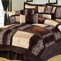 7Pcs Queen Leopard Micro Suede Comforter Set:Amazon:Home & Kitchen