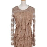 Anna-Kaci S/M Fit Beige Long Sleeve Ruffled Formal Cocktail Party Dress