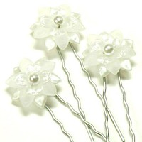 Tilleyjewels Bride Fiona White Pearl Flower Bridal Hair Pins | tilleyjewels - Wedding on ArtFire