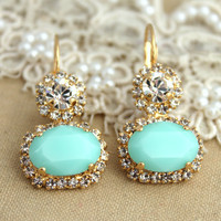 Mint Swarovski Rhinestone earrings with Ice clear crystals - 14k Gold plated  plated gold hook earrings real swarovski rhinestones.