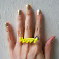 Happy Adjustable Neon Yellow Ring