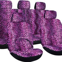Oxgord 17pc Purple Leopard Seat Cover w/ Violet Carpet Floor Mat Set for Car/Truck/Van/SUV:Amazon:Automotive